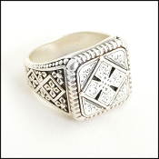 Konstantino Carved Silver Cross Shield Mens 925 Silver Ring