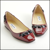 Size 38.5 Jimmy Choo Burgundy Patent Leather Jewled Flats