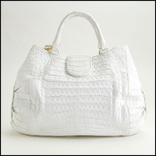 Nancy Gonzalez White Crocodile Handbag with Strap