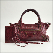 Balenciaga Bordeaux Goatskin Classic Hardware First Bag