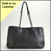 Bottega Veneta Black Napa Intrecciato Leather Tote