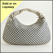 Bottega Veneta White/Blue Intrecciato Large Veneta Hobo Bag