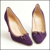 Size 37 Louboutin Eggplant Suede Pumps w. Metallic Leather Trim
