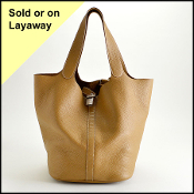 Hermes Sable Brown Clemence Leather Picotin Lock GM Tote Bag