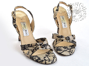 Size 37.5/7 Jimmy Choo Black Lace/Ivory Satin High Heel Sandals