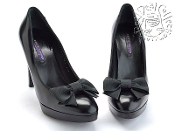 Size 9.5 Ralph Lauren Collection Black Bow Pump High Heels