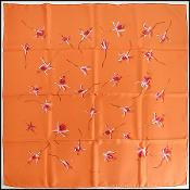 Hermes Orange Fleurs de Fuchsia Flowers 90cm Silk Twill Scarf