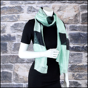 Chanel Green/Black CC Logo Diamond Weave Stole Long Scarf