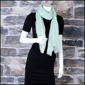 Chanel Mint Green Cashmere Stripes & Circle Logo Long Scarf