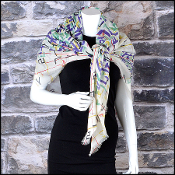 Chanel Ivory/Green/Multicolor Brushstrokes Shawl Large Scarf