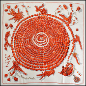 Hermes Red/White Reve de Corail Coral Beads 90cm Silk Scarf