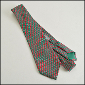 Hermes Green/Red Diamond H Check Men's Silk Tie Style 7155 FA