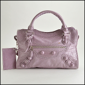 Balenciaga Lilac Lambskin 21mm Covered Giant HW Brogues City Bag