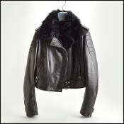 Size 42 EU (Small) Belstaff Black Fur Trim Leather Moto Jacket