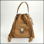 Ralph Lauren Tan Suede Ricky Drawstring Fringe Bucket Bag