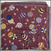 Fendi Vintage Plum Hot-Air Balloons Cotton Large Scarf Shawl