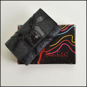 Carlos Falchi Black Patchwork Leathers 6 Keys & Card Holder