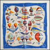 Hermes Blue/Ivory Les Folies Du Ciel Silk Twill Pocket Square