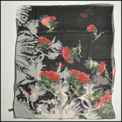 Chanel Black/Cream/Red Thistle Silk Chiffon Shawl