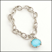 Judith Ripka Rope Link Bracelet With Faceted Turquoise