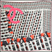 Chanel Black/Red/Pink Photo Tweed Square Silk Twill Scarf