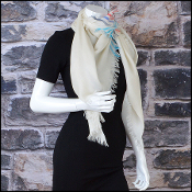 Chanel Ivory/Multi CC Stripes Sporty Cashmere Square Scarf