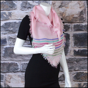 Chanel Pink Striped Cashmere & Silk Square Scarf