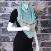 Chanel Light Green/Multi CC Stripes Sporty Cashmere Square Scarf