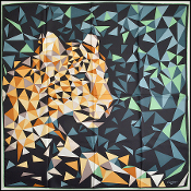 Cartier Green/Tan Geometric Panther 90cm Silk Twill Square Scarf