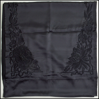 Cartier Black Embroidered & Beaded Floral Silk Shawl