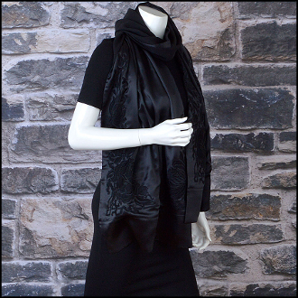 Cartier Black Satin Floral Embroidered & Beaded Silk Shawl Wrap