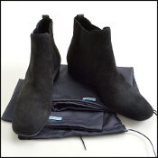 Size 38.5/8 Prada Black Suede Chelsea Booties Ankle Boots