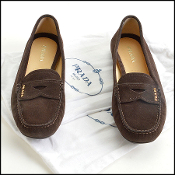 Size 39/8.5 Prada Brown Suede Driving Penny Loafers