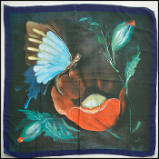 Gucci Navy 90cm Butterfly and Poppy Vintage Silk Crepe Scarf