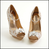 Size 7.5 Badgley Mischka Gold/Silver Brocade Crystal Heels