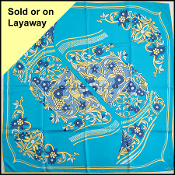 Cartier Turquoise Floral Moccasins 90cm Silk Twill Square Scarf