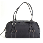 Longchamp Black Nylon & Leather Rings Satchel
