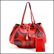 Balenciaga True Red Chevre Leather & Python Corset Bag