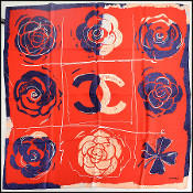 Chanel Red/Navy Clover & Camellia Silk Scarf