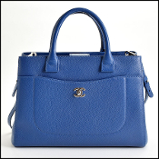 Chanel Blue Pebbled Leather Neo Executive Tote with Strap