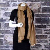 Fendi Nutmeg Brown Zucca Jacquard Long Scarf Stole