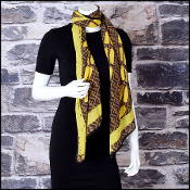 Fendi Brown & Yellow Zucca FF Silk Stole