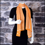 Fendi Orange/White Crepe New Zucca Silk Stole