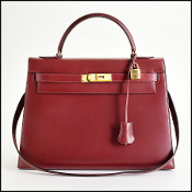 Hermes Rouge H Box Leather Kelly Sellier 32cm Handbag w/Strap