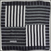 YSL Black/Grey Stripe Silk Scarf