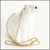 Judith Leiber White Crystal Polar Bear Minaudiere Evening Bag