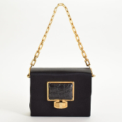 Balenciaga Black Satin Chain Strap Box Clutch w/ Crocodile Clasp