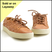 Size 39/8.5 Saint Laurent Tan Distressed Leather Stars Sneaker