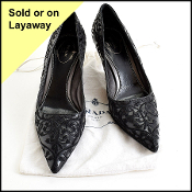 Size 40/9.5 Prada Black Floral Embroidered Pumps