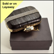 Badgley Mischka Black Leather & Crystal Band Box Clutch w/ Strap